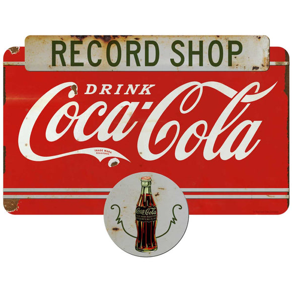 Drink Coca-Cola Record Shop Decal Distressed