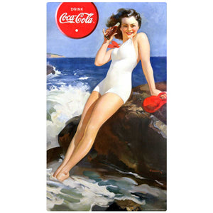 Coca-Cola Bathing Beauty on Rock Decal