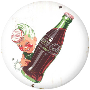 Coca-Cola Sprite Boy Bottle Disc Decal Distressed White