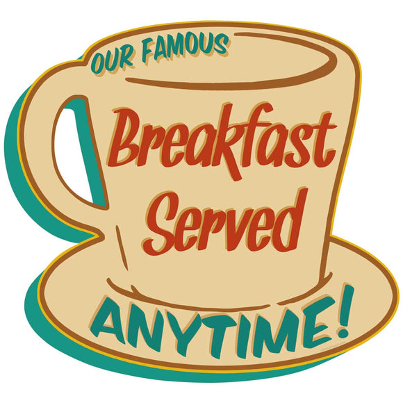 Breakfast Served Anytime Coffee Cup Decal