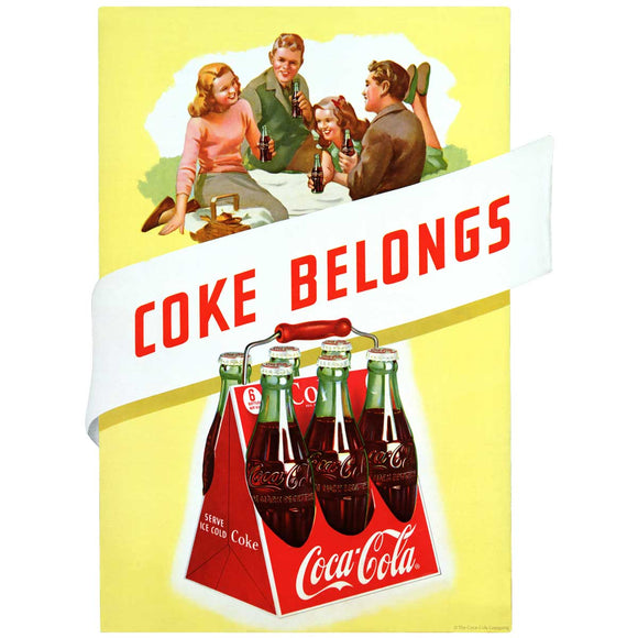 Coke Belongs 6 Pack 1940s Decal
