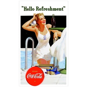 Coca-Cola Girl At Pool Hello Refreshment Decal