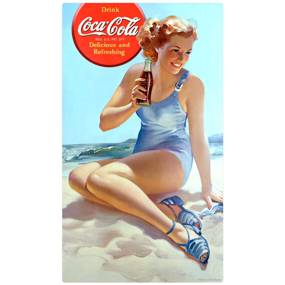 Coca-Cola Girl at Beach Decal