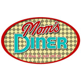 Moms Diner Oval Check Sticker