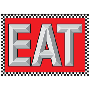 EAT with Checked Border Sticker