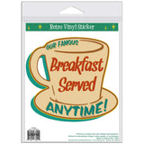 Breakfast Served Anytime Coffee Cup Sticker