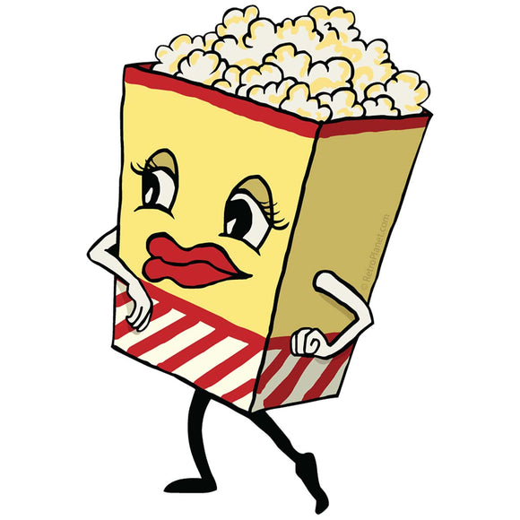 Dancing Popcorn Sticker