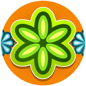 Mod Flower Green Sticker