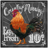 Country Morning Rooster Eggs Chalk Art Decal