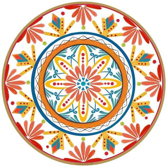 Red Talavera Style Mexican Decal