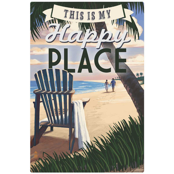 My Happy Place Tropical Beach Decal