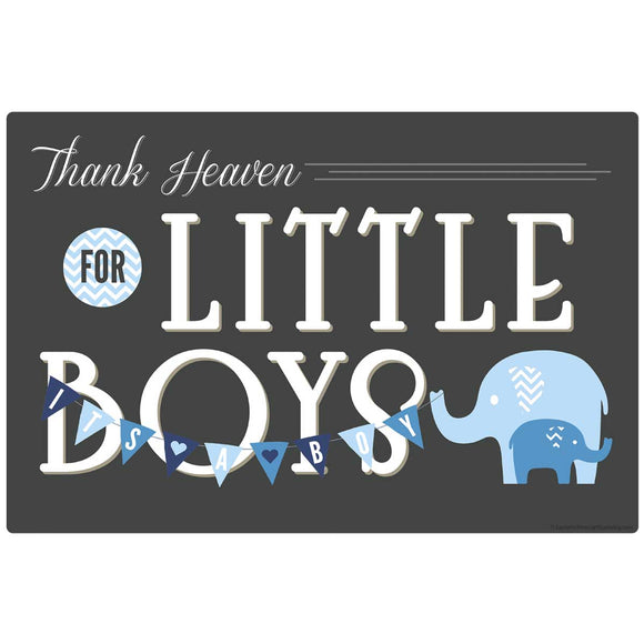 Thank Heaven for Little Boys Blue Elephants Decal