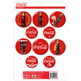 Coca-Cola Red Button Disc Sticker Set of 10