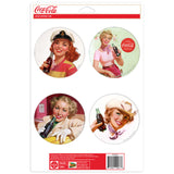 Coca-Cola Girls Buttons Sticker Set of 4