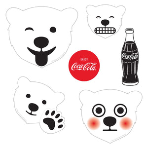 Polar Bear Emojis Black 5 x 7 Sticker Sheet