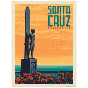Santa Cruz Surfer Statue California Decal