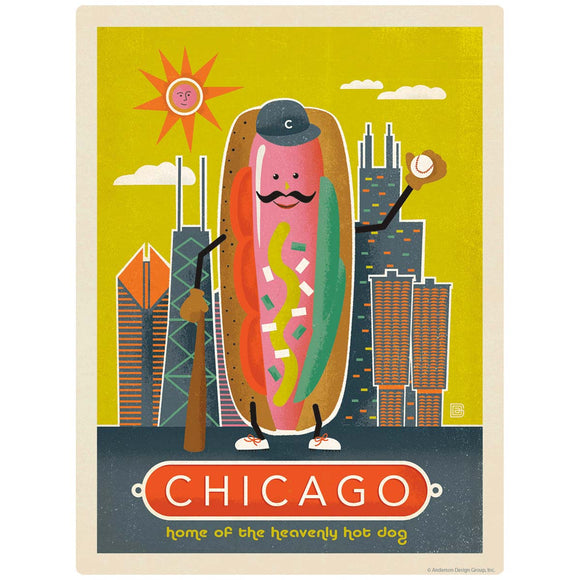 Chicago Illinois Heavenly Hot Dog Decal