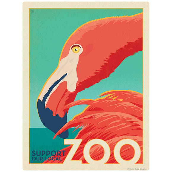 Flamingo Support Our Local Zoo Decal