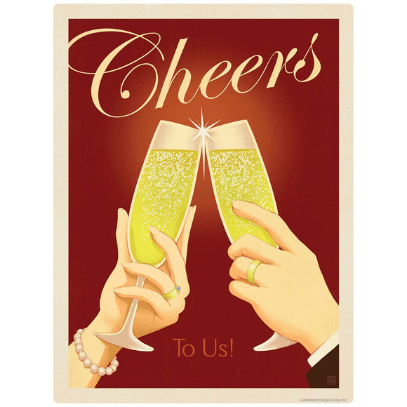 Cheers To Us Champagne Toast Decal