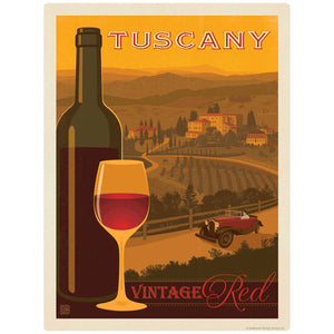 Tuscany Italy Vintage Red Wine Decal
