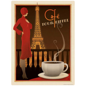 Cafe Eiffel Tower French Coffee Decal