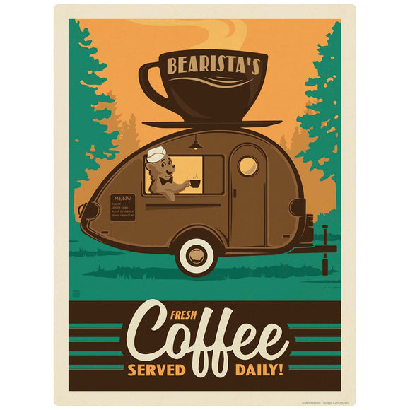 Bearistas Trailer Coffee Served Daily Decal