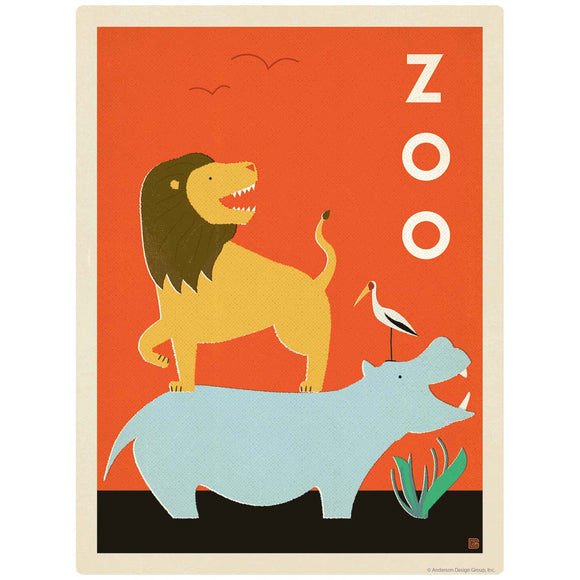 Zoo Buddies Lion Hippo Heron Decal