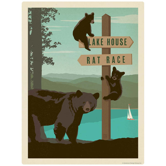 Lake House Rat Race Sign Post Decal