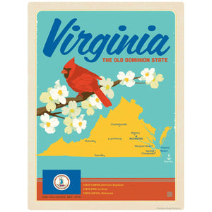 Virginia Old Dominion State Map Decal