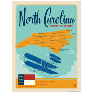 North Carolina First in Flight State Map Decal
