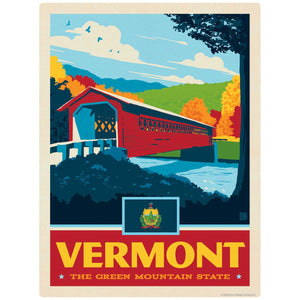 Vermont Green Mountain State Covered Bridge Decal