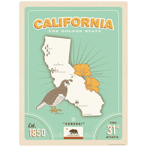 California Golden State Map Decal