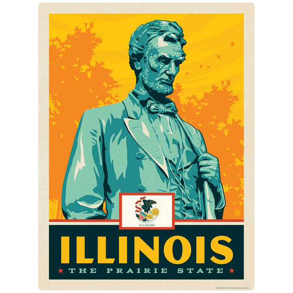 Illinois Prairie State Abraham Lincoln Decal