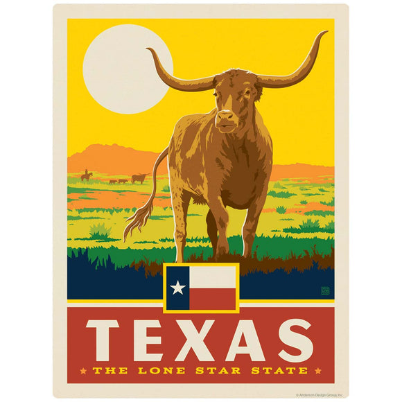 Texas Lone Star State Longhorn Decal