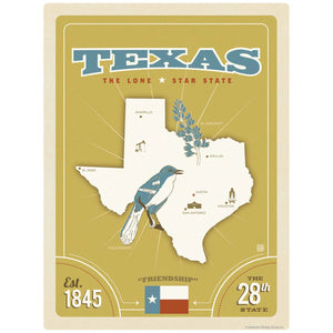 Texas Lone State State Map Decal