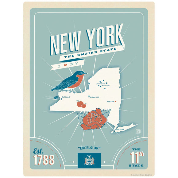 New York Empire State Map Decal
