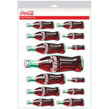 Coca-Cola Green Contour Bottle Sticker Sheet of 13