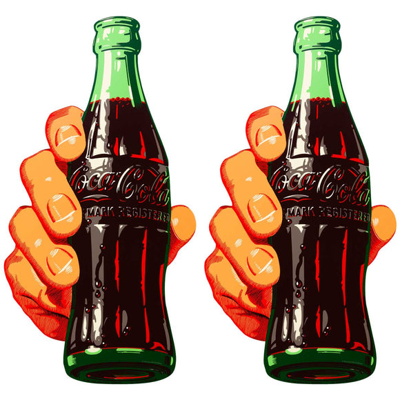 Coca-Cola Soda Bottle In Hand Wholesale Sticker Set of 2