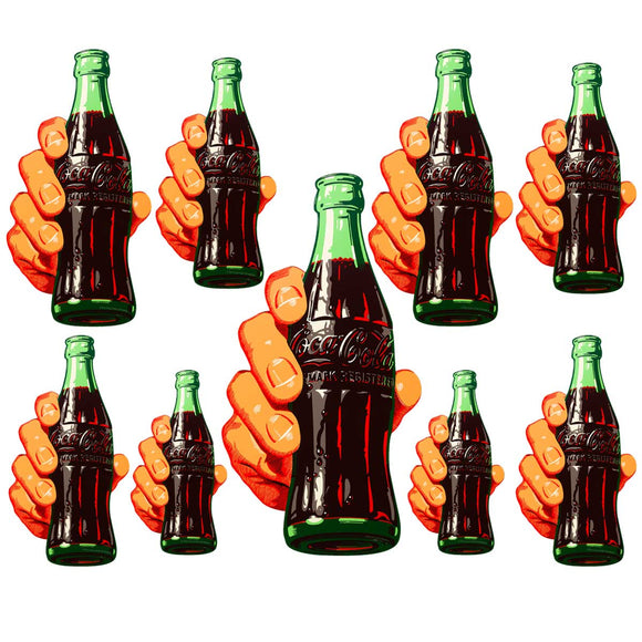 Coca-Cola Soda Bottle In Hand Wholesale Sticker Set of 9