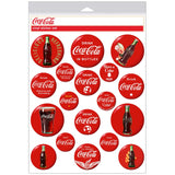 Coca-Cola Red Disc Button Stickers Sheet of 18