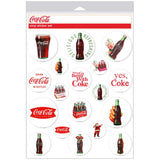 Coca-Cola White Disc Stickers Sheet of 18