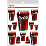 Coca-Cola Bell Soda Glass Sticker Sheet of 13