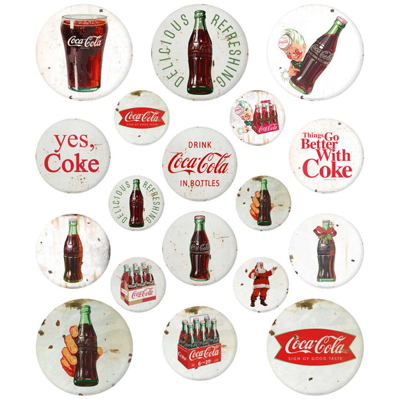 Coca-Cola Button Sticker Sheet - White Wholesale Distressed Sticker Set