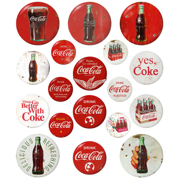 Coca-Cola Button Sticker Sheet - Mixed Wholesale Distressed Sticker Set