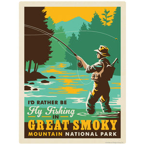 Rather Be Fly Fishing Decal Smoky Mtns National Park