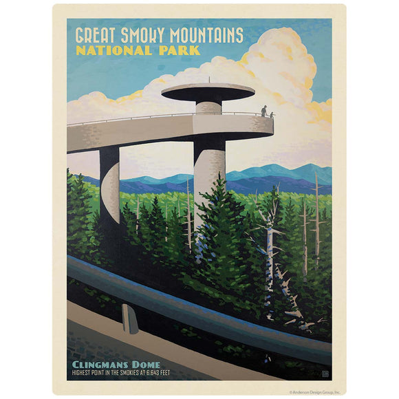 Clingmans Dome Decal Smoky Mtns National Park