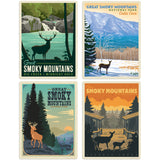 Great Smoky Mountains Deer Decal Set of 4