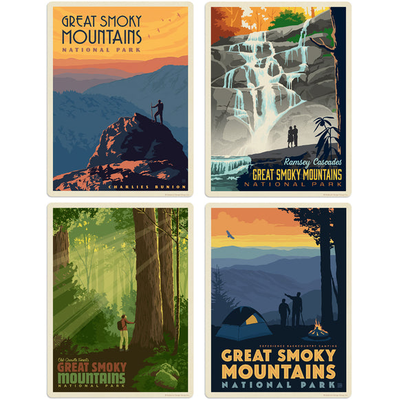 Great Smoky Mountains Hiking Decal Set of 4