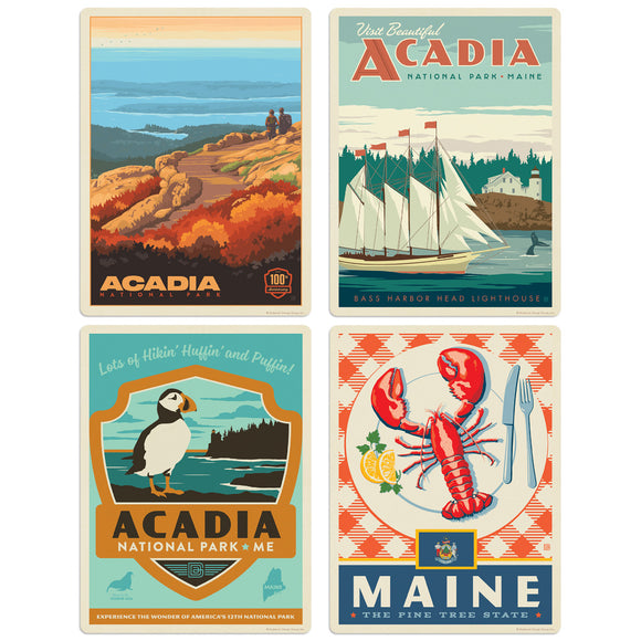 Acadia National Park Maine Decal Set of 4