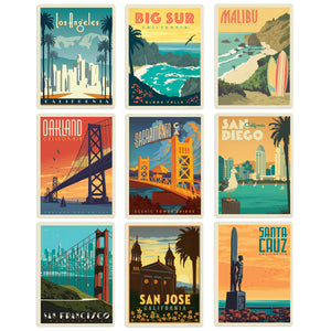 California Cities Decal Set Set of 9